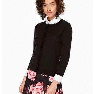 Kate Spade Scalloped Cardigan Silk/Cashmere Blend